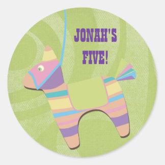 Traditional Donkey Fiesta Pinata Kids Birthday Round Sticker