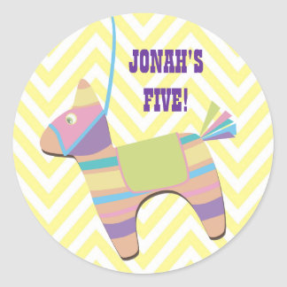 Traditional Donkey Fiesta Pinata Kids Birthday Round Stickers