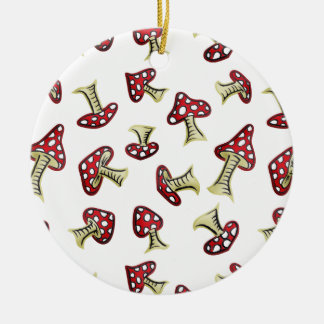 Traditional Fairy Toadstool Pattern Round Ceramic Decoration