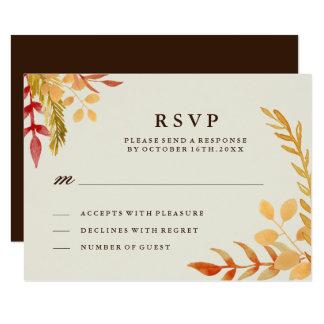 Traditional Fall Wedding RSVP Card 9 Cm X 13 Cm Invitation Card