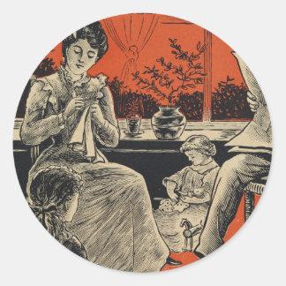 Traditional Family Life Vintage Retro Orange Black Round Sticker