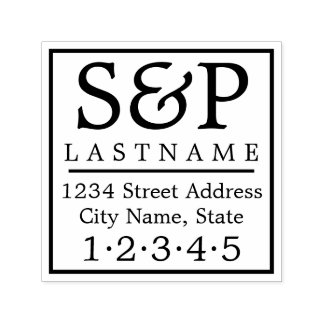 Traditional Family Monogram and Return Address Self-inking Stamp