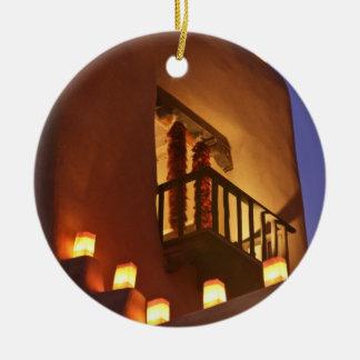 Traditional farolitos light up adobe structures 2 christmas ornament