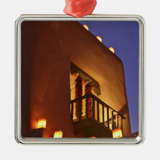 Traditional farolitos light up adobe structures 2 christmas ornament