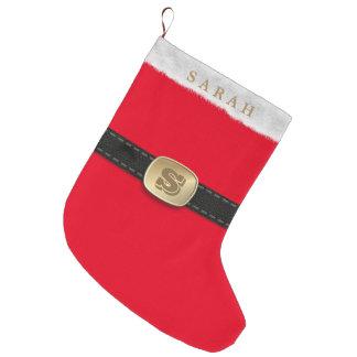 Traditional Festive Red Santa Suit Monogram Large Christmas Stocking