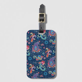 Traditional flower illustration chic blue pattern luggage tag