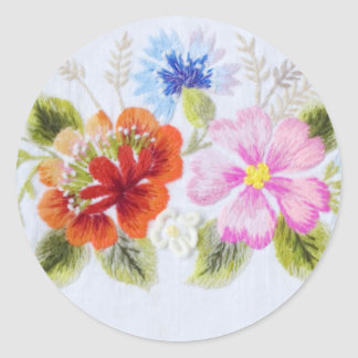 Traditional Flowers Classic Round Sticker