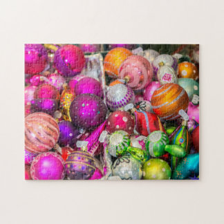 Traditional Glass Ornaments At Christmas Market Jigsaw Puzzle