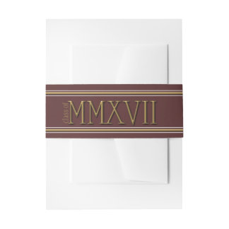 Traditional Gold-Effect Roman Numerals Graduation Invitation Belly Band