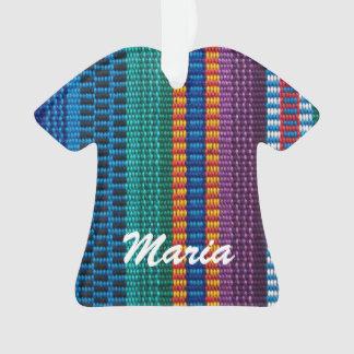 Traditional Guatemala fabric weave custom name Ornament