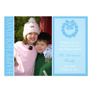 Traditional Happy Holidays Wreath Card Lt Blue Custom Invites