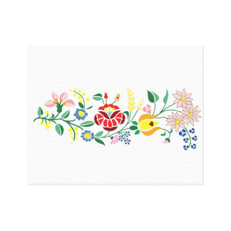 Traditional Hungarian flower Embroidery design Canvas Print