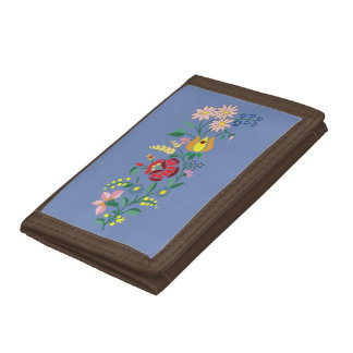Traditional Hungarian flower Embroidery Trifold Wallet