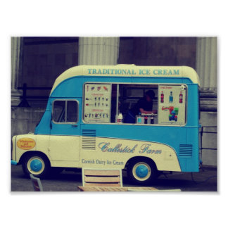 Traditional ice cream vintage cute truck posters