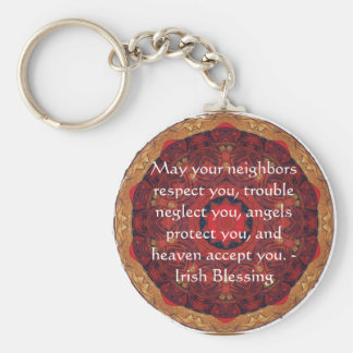 Traditional Irish Blessing Basic Round Button Key Ring