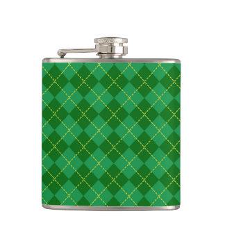 Traditional Irish Plaid Tartan Green Pattern Flasks