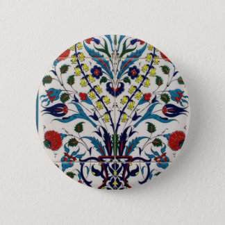 Traditional islamic floral design tiles 6 cm round badge