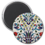 Traditional islamic floral design tiles 6 cm round magnet