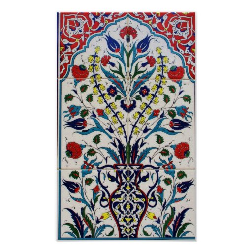 Traditional islamic floral design tiles print