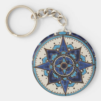 Traditional Iznik palette of blue and white tile Basic Round Button Key Ring