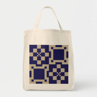 Traditional Japanese Block Pattern Grocery Tote Bag