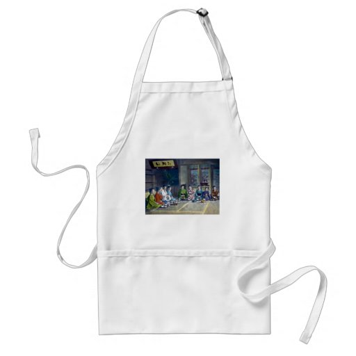 Traditional Japanese Family Meal Hand Tinted 家族 Aprons