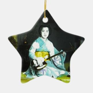Traditional Japanese Geisha Musician Serving Tea Ceramic Star Decoration