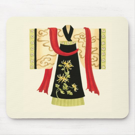 Traditional Japanese Kimono with Floral Print Mouse Mat