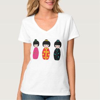 Traditional Japanese Kokeshi Geisha Dolls T-Shirt