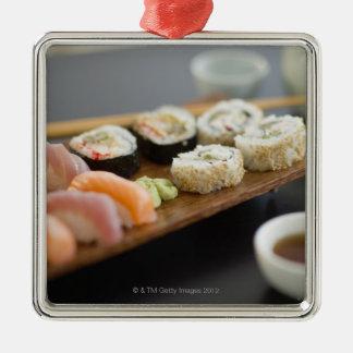 Traditional Japanese sushi Silver-Colored Square Decoration