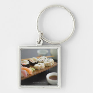 Traditional Japanese sushi Silver-Colored Square Key Ring