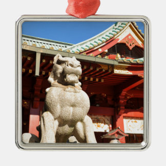 Traditional Japanese temple in Tokyo Silver-Colored Square Decoration