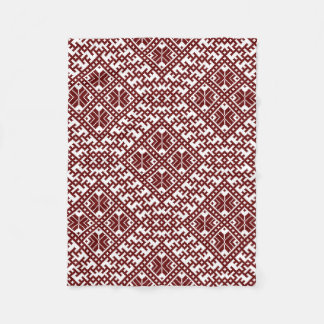 Traditional Latvian Red Design pattern Auseklis Fleece Blanket