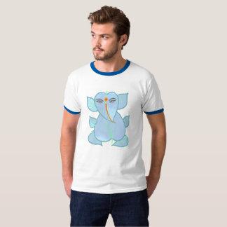 Traditional Leaf Motif Ganesha on White T-Shirt