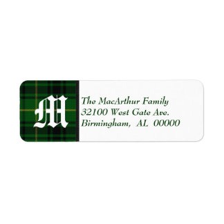Traditional MacArthur Tartan Plaid Monogram Return Address Label