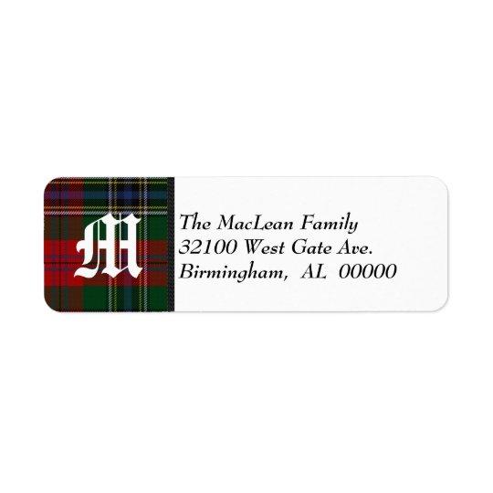 Traditional MacLean Tartan Plaid Monogram Return Address Label