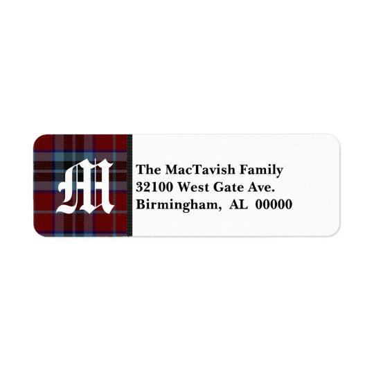 Traditional MacTavish Tartan Plaid Monogram Return Address Label