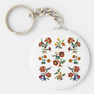Traditional Monmouth Jacobean Embroidery Basic Round Button Key Ring
