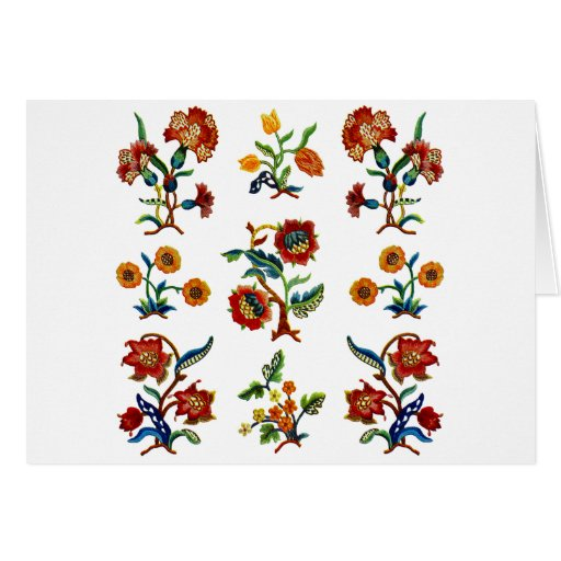 Traditional Monmouth Jacobean Embroidery Greeting Card