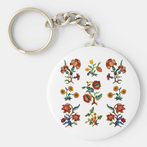 Traditional Monmouth Jacobean Embroidery Key Chain