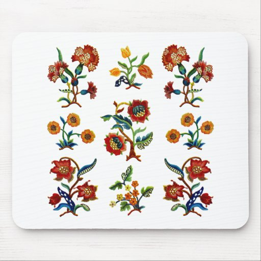 Traditional Monmouth Jacobean Embroidery Mouse Pad