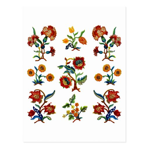 Traditional Monmouth Jacobean Embroidery Post Card