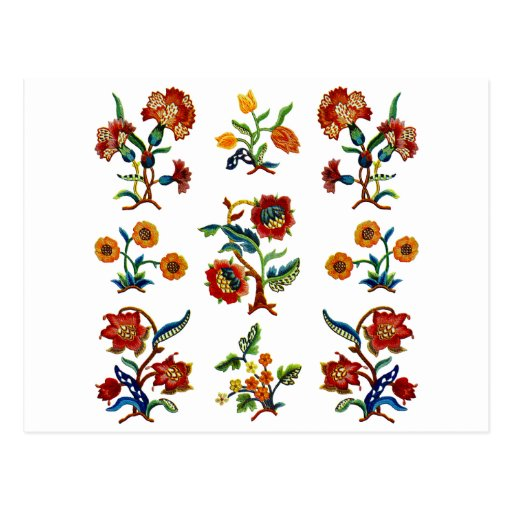 Traditional Monmouth Jacobean Embroidery Postcard
