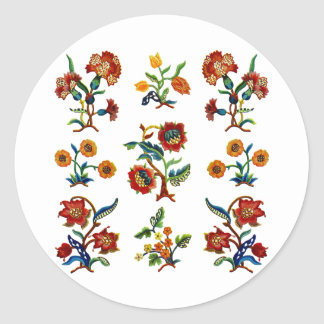 Traditional Monmouth Jacobean Embroidery Round Sticker