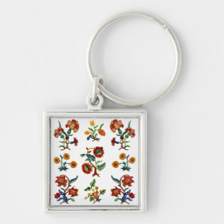Traditional Monmouth Jacobean Embroidery Silver-Colored Square Key Ring