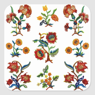 Traditional Monmouth Jacobean Embroidery Square Sticker