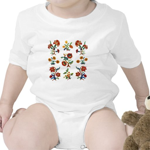 Traditional Monmouth Jacobean Embroidery Baby Bodysuits