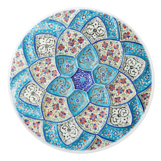 Traditional Moroccan turquoise Blue, white, salmon Ceramic Knob