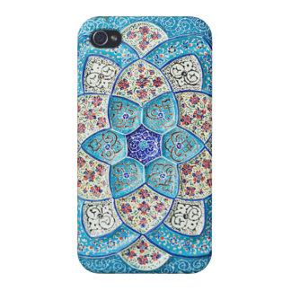 Traditional Moroccan turquoise Blue, white, salmon iPhone 4 Cases
