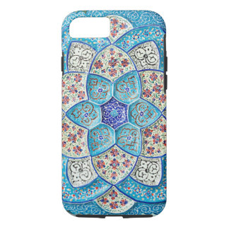Traditional Moroccan turquoise Blue, white, salmon iPhone 8/7 Case